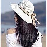 MGIZLJJ Sombrero de Paja de Verano Sun Beach Sombrero de Paja UPF50 Plegable de ala Ancha para Mujer Sombrero de Paja Enrollable Sombrero de Playa UPF50 + Protector Solar Pequeño Gorra Visera