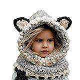 Sunroyal Estilo Sombrero de Dibujos Animados, Lana de Invierno Lanas Boinas Fox Sombreros Chaquetas de cáscara de otoño y Sombrero de Invierno Baby Knit Bufanda con un Sombrero (Gris)