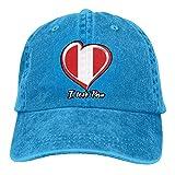 xinfub Gorra de béisbol Unisex Sombrero de Mezclilla de algodón Love Peru Flag Ajustable Snapback Cricket Cap Net Red 8685