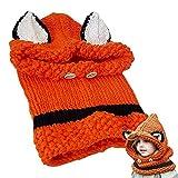 Bebé Sombrero y Bufandas Invierno,Conjunto de Bufanda de Sombrero,Gorros de Punto Cálidos Bebé Gorros de Animales Lindos Fox,Naranja