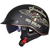 Casco de Moto Harley, Casco de Moto Retro antichoque de Media Cara para Hombre con Visera para Sol Accesorios de Gorra de Motocross de montaña para Exteriores