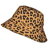 TOUTACOO, Sombrero para la Lluvia y para el Sol, Pamela para Mujer, Estampado de Leopardo, Reversible (Amarillo Oscuro/Amarillo)