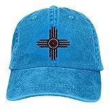 FUGVO Bandera del Estado de Nuevo México Zia Gorras de béisbol Ajustables Unisex Sombreros de Mezclilla Sombrero de Camionero Deportivo de Vaquero Sombrero de papá Vintage Azul