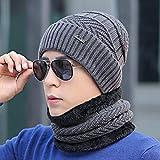Sombreros de punto gruesos de terciopelo y cálidos para hombres en otoño e invierno, sombreros deportivos para ciclismo al aire libre en invierno, gorras a prueba de viento para hombres (2 juegos)