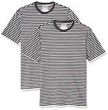 Amazon Essentials - Pack de 2 camisetas de manga corta con cuello redondo y diseño a rayas para hombre, Negro/Gris jaspeado claro, US XS (EU XS)