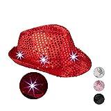 Relaxdays Gorro Fiesta Lentejuelas con Led, Color Rojo, Talla Única (10023897_47) , color/modelo surtido