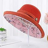 zifeifei - Sombrero de Visera para el Sol con Doble Capa de Fisherman Hat Lady Bucket Hat, Naranja