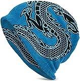 N/A Gorro de Lana Unisex con diseño de dragón Chino de Estilo Chino, para Pintar, con Calavera, Estilo Hip-Hop, para Invierno, Verano, para Mujer, Hombre, Color Negro