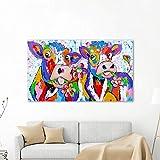 N / A Pintura sin Marco Mural sobre Lienzo de Animales Vacas y Flores decoración del hogar ZGQ7103 60x105cm