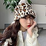 Sombrero De Beanie Sombrero De Cubo De Piel Sintética con Estampado De Leopardo para Mujer, Gorros Bonitos Y Cálidos De Invierno para Mujer, Gorro De Pesca De Caza, Gorro Suav