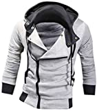 Jeansian Hombres Sudaderas con Capucha Outwear Tapas Men's Casual Hooded Sweatshirts Outwear Tops 8945 Lightgray XL