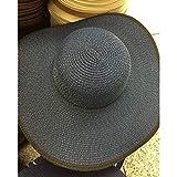 FHHYY sombreo Nuevo Sombrero de Paja Sombrero de navegante de Borde Superior Plano Gorro de Playa Señoras Cinta Negra Sombrero de Sol de Verano Femenino Retro Sombrero de Playa de Panamá Fedoras,DF