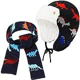 Sombrero Gorro de Invierno de Bebé Sombrero de Lana de Invierno de Niños Pequeños Gorro de Punto Lindo con Orejeras Calentadores y Bufanda de Bebé (M)