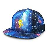 David A Beltran Sombreros para niños Famouse Ajustable Anime Tweety Bird Gorra de béisbol de ala Plana Sombrero de Cielo Estrellado para Gorras Snapback para Adultos