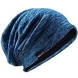 Hombres Slouch Gorrita Tejida Tejer Casquete Largo Holgado Forrado Invierno Verano Sombreros (Azul)