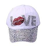 Cap Bling Diamond Brilliant Glass Gorras de Mezclilla Mujeres Amor Gorra de béisbol Hombres Summer Sun Hat 3