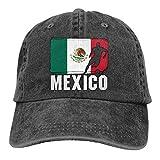 Gorra de béisbol ajustable con diseño de la bandera de México FGHGF, para hombre y mujer, de tela vaquera teñida Negro Color C Taille unique