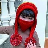 TCTC Sombreros de Bufanda de Lana de Punto para niños, Sombreros de máscara de pompón, Sombreros de Punto de Invierno, Sombreros con máscaras cálidas para niños y niñas (Rojo)