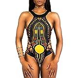 VECDY 2019 Bañador Monokini Push Up Traje De Baño étnico Vintage Siamés para Mujer Mujeres Vendaje De Una Pieza Bikini Bra Acolchado Ropa De Playa(Negro,S)