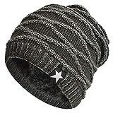 Hombres Cozy Invierno Gorra de Punto tartán Beanie Universal Cálido de Punto de esquí Beanie Hat cráneo Slouchy Gorra Sombrero (Gris Pentagrama)