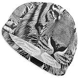 Gorro de natación Rouxf Tiger de ajuste cómodo para hombres, mujeres, adultos, jóvenes, de alta elasticidad