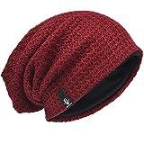 Hombre Gorro de Punto Slouch Beanie Knit Invierno Verano Hat (Burdeos)