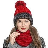 DonDon Mujer Gorro de invierno Gorro de punto forrado caliente y suave con pompón - Rojo Azul Beige
