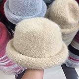 Xme Nuevo y Lindo Sombrero de Mujer con cúpula rizada, Sombrero de Copa de Piel de Conejo de Color sólido cálido, Sombrero de Cuenca de Pescador de otoño e Invierno de Moda