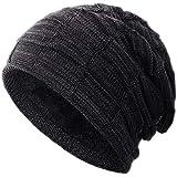Compagno Gorro de invierno tipo slouch beanie de punto cesta con suave interior de forro polar, Color:negro moteado