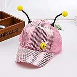 mlpnko Visera para niños Lentejuelas Transpirables Delgadas para niños Gorras de béisbol Visera de Protector Solar para Abejas niños y niñas código Rosa