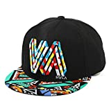 Unisex algodón de primera calidad Snapback del sombrero de Hip Hop ajustable Bill plano gorras de béisbol casquillo de Sun para hombres y mujeres (Negro)