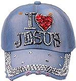 HANJINYU Gorra De Béisbol,Unique Spring Summer Ladies Fashion Creative Jesus Letters Diamond Gorra De Béisbol Casual Outdoor Wild Hip Hop Sun Hat G