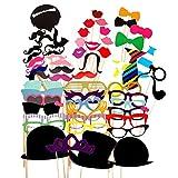Paquete de 58 accesorios para Photocall con distintos diseños como pajaritas, bigotes, sombreros, ideales para fiestas, cumpleaños, bodas