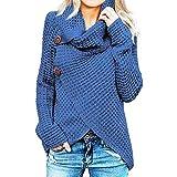 Jerseys De Punto para Mujer Cuello de Tortuga Manga Larga Suelto Prendas de Punto Suéter Irregular Jerséis Collar de la Pila Tops Cálido Otoño Invierno riou (Blue, S)
