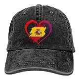 HomePink Gorra de béisbol para Hombres y Mujeres, Bandera de España en Forma de corazón Unisex Algodón Ajustable Jeans Cap Hat