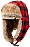 Amazon Essentials Trapper Hat with Faux Fur Cold-Weather-Hats, Rojo Buffalo Check, One Size