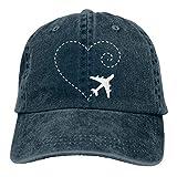 Hoswee Gorra de Béisbol Ajustable Airplane Drawing A Heart Shape Unisex Custom Cowboy Hat Hip Hop Cap Snapback Sombreros