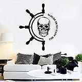 ASFGA Tatuajes de Pared La Aventura Comienza Barco Volante Piratas náuticos Etiqueta de Vinilo Arte Marinero Mural para Dormitorio Juvenil 74x89cm