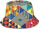 Elementos geométricos y Abstractos Parte Superior Plana Sombrero de Pescador Unisex Gorras al Aire Libre para Viajes Playa Protección Solar Gorra de Pescador Elementos de Adorno japonés Sombrero de c