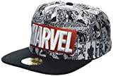 Marvel Comics Logo and Comic Pattern Snapback Baseball Cap Gorra de béisbol, Grey (Grey Grey), Talla Única Unisex Adulto