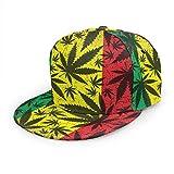 Sombreros de béisbol planos unisex hoja de cannabis en grunge rastafarian ajustable Snapback 3D Hip-Hop Caps para uso diario negro