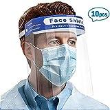 Amsahr 10Pcs protección facial de seguridad Visera protectora de plástico Ruixin, protección transparente ajustable contra saliva, gotas, niebla, polen y polvo