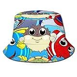 Conjunto de Animales Marinos Lindos Sombrero de Pescador Sombreros de Copa Transpirables de Tapa Plana Sombrero de Sol de Moda Unisex Verano