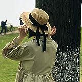 FHHYY sombreo Nuevo Sombrero de Sol de Verano Arco bastón Sombrero Visera Temperamento Sombreros de Paja Planos Mujeres mar Playa Vacaciones Ocio Protector Solar Sombrero,DF
