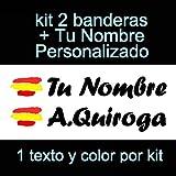 Vinilin Pegatina Vinilo Bandera España + tu Nombre - Bici, Casco, Pala De Padel, Monopatin, Coche, Moto, etc. Kit de Dos Vinilos (Negro)