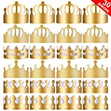 Yaomiao 30 Piezas de Corona de Papel de Fiesta Corona Dorada Sombrero de Corona de Rey para Fiesta de Cumpleaños Foto Props