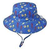 De verano para niños para niños sombreros de Sun con Protección UV UPF 50+ de ala ancha sombrero de la playa Pescador sombrero del sombrero del cubo para Bebés niñas de 6 meses-8 Años,H,M(50~54cm)