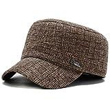 PPSTYLE Sombrero Militar para Hombre Algodón Sólido Ajustable Snapback Gorras Militares Planas Gorras Gorras Militares para Hombres Al por Mayor-Marrón