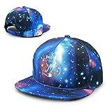 Unisex University of Miami Shark Research Galaxy Algodón Hip Hop Snapback Sombrero de ala Plana Gorras de béisbol para papá Adulto Azul
