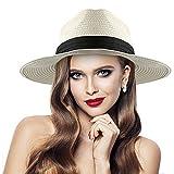 Sombrero De Paja para Mujer Floppy Plegable, Sombreros de Paja De Sol Playa Ancha para Ocio Verano Playa Viaje Vacaciones (Blanco Lechoso)